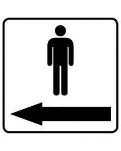 WC Toiletten Kennzeichnung | Piktogramm Herren Pfeil links · weiß