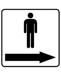 WC Toiletten Kennzeichnung | Piktogramm Herren Pfeil rechts · weiß