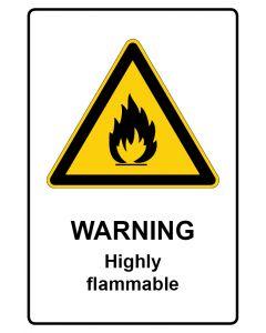 Warnzeichen mit Text · Aufkleber | Schild | Magnetschild · Warning · Highly flammable