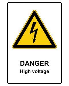Warnzeichen mit Text · Aufkleber | Schild | Magnetschild · Danger · High voltage