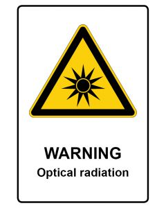 Warnzeichen mit Text · Aufkleber | Schild | Magnetschild · Warning · Optical radiation