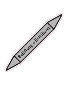 Rohrleitungskennzeichnung Belüftung + Entlüftung · Aufkleber | Schild · Rohrkennzeichnung
