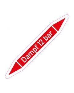 Rohrleitungskennzeichnung Dampf 12 bar · Aufkleber | Schild · Rohrkennzeichnung