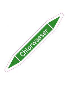 Rohrleitungskennzeichnung Chlorwasser · Aufkleber | Schild · Rohrkennzeichnung