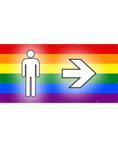 PVC Plane WC Herren rechts | regenbogenfarben