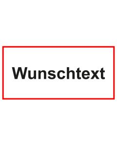 Türschild · Aufkleber Wunschtext | weiss · rot