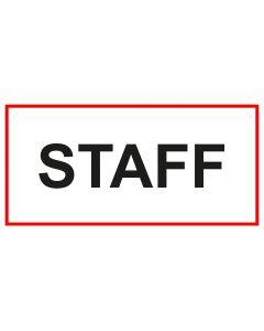 Türschild · Aufkleber STAFF | weiss · rot