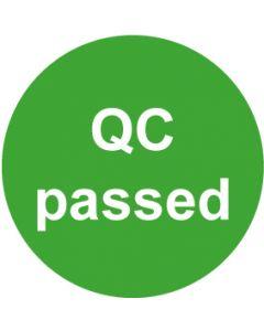 QS Zeichen QC passed · grün | Aufkleber · Magnetschild · Aluminiumschild