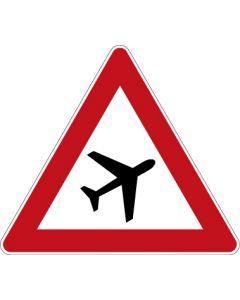 Verkehrszeichen Gefahrzeichen Flugbetrieb, Aufstellung links · Zeichen 101-20  | Aufkleber · Schild · Magnetschild