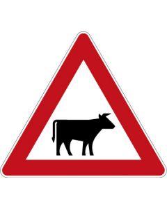 Verkehrszeichen Gefahrzeichen Viehtrieb, Aufstellung links · Zeichen 101-22  | Aufkleber · Schild · Magnetschild