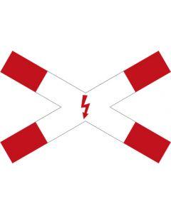 Verkehrszeichen Vorschriftzeichen Andreaskreuz mit Blitzpfeil (liegend) · Zeichen 201-53  | Aufkleber · Schild · Magnetschild