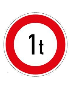 Verkehrszeichen Zulässiges Gesamtgewicht 1t | Aufkleber · Magnetschild · Aluminium-Schild