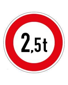 Verkehrszeichen Zulässiges Gesamtgewicht 2,5t | Aufkleber · Magnetschild · Aluminium-Schild