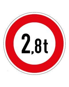 Verkehrszeichen Zulässiges Gesamtgewicht 2,8t | Aufkleber · Magnetschild · Aluminium-Schild