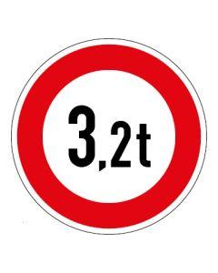 Verkehrszeichen Zulässiges Gesamtgewicht 3,2t | Aufkleber · Magnetschild · Aluminium-Schild