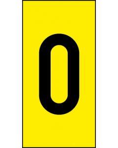 Einzelziffer 0 | schwarz · gelb | Aufkleber · Magnetschild · Aluminium-Schild