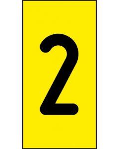 Einzelziffer 2 | schwarz · gelb | Aufkleber · Magnetschild · Aluminium-Schild