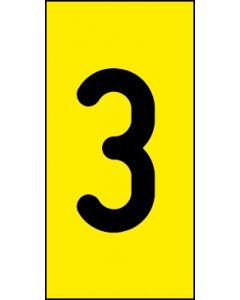 Einzelziffer 3 | schwarz · gelb | Aufkleber · Magnetschild · Aluminium-Schild