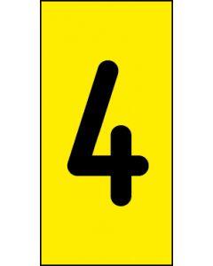 Einzelziffer 4 | schwarz · gelb | Aufkleber · Magnetschild · Aluminium-Schild
