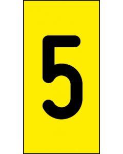 Einzelziffer 5 | schwarz · gelb | Aufkleber · Magnetschild · Aluminium-Schild