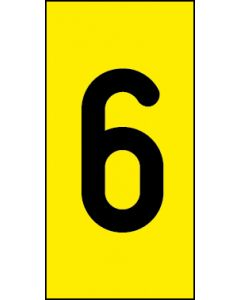 Einzelziffer 6 | schwarz · gelb | Aufkleber · Magnetschild · Aluminium-Schild