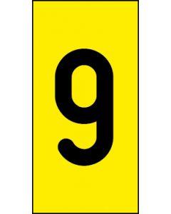 Einzelziffer 9 | schwarz · gelb | Aufkleber · Magnetschild · Aluminium-Schild