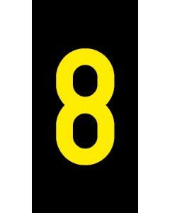 Einzelziffer 8 | gelb · schwarz | Aufkleber · Magnetschild · Aluminium-Schild