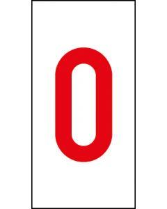 Einzelziffer 0 | rot · weiß | Aufkleber · Magnetschild · Aluminium-Schild