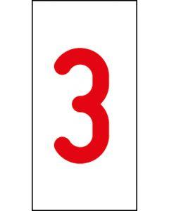 Einzelziffer 3 | rot · weiß | Aufkleber · Magnetschild · Aluminium-Schild