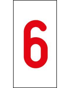 Einzelziffer 6 | rot · weiß | Aufkleber · Magnetschild · Aluminium-Schild