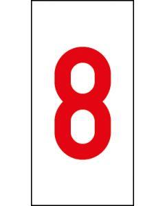 Einzelziffer 8 | rot · weiß | Aufkleber · Magnetschild · Aluminium-Schild