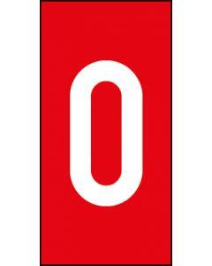 Einzelziffer 0 | weiß · rot | Aufkleber · Magnetschild · Aluminium-Schild