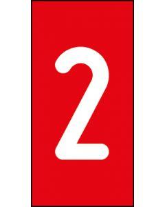 Einzelziffer 2 | weiß · rot | Aufkleber · Magnetschild · Aluminium-Schild