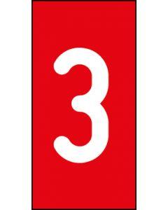 Einzelziffer 3 | weiß · rot | Aufkleber · Magnetschild · Aluminium-Schild