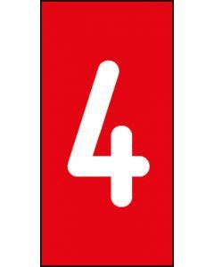 Einzelziffer 4 | weiß · rot | Aufkleber · Magnetschild · Aluminium-Schild