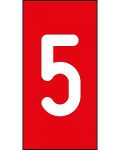 Einzelziffer 5 | weiß · rot | Aufkleber · Magnetschild · Aluminium-Schild