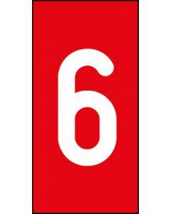 Einzelziffer 6 | weiß · rot | Aufkleber · Magnetschild · Aluminium-Schild