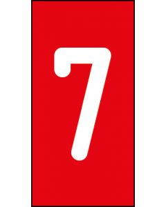 Einzelziffer 7 | weiß · rot | Aufkleber · Magnetschild · Aluminium-Schild