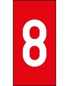 Einzelziffer 8 | weiß · rot | Aufkleber · Magnetschild · Aluminium-Schild