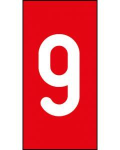 Einzelziffer 9 | weiß · rot | Aufkleber · Magnetschild · Aluminium-Schild