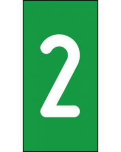 Einzelziffer 2 | weiß · grün | Aufkleber · Magnetschild · Aluminium-Schild