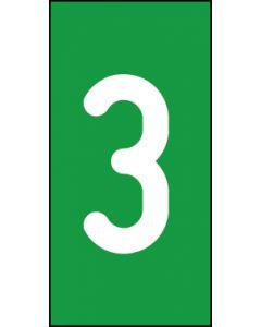 Einzelziffer 3 | weiß · grün | Aufkleber · Magnetschild · Aluminium-Schild