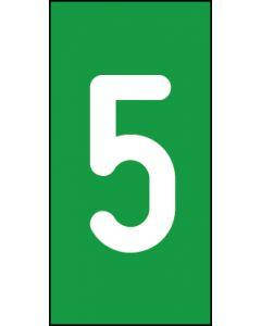 Einzelziffer 5 | weiß · grün | Aufkleber · Magnetschild · Aluminium-Schild
