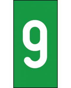 Einzelziffer 9 | weiß · grün | Aufkleber · Magnetschild · Aluminium-Schild