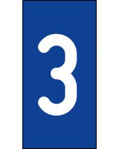 Einzelziffer 3 | weiß · blau | Aufkleber · Magnetschild · Aluminium-Schild