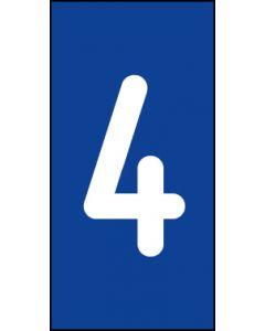 Einzelziffer 4 | weiß · blau | Aufkleber · Magnetschild · Aluminium-Schild