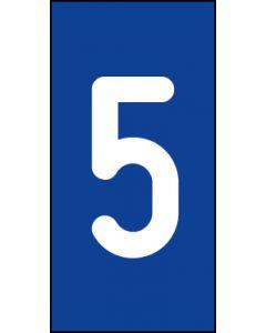 Einzelziffer 5 | weiß · blau | Aufkleber · Magnetschild · Aluminium-Schild