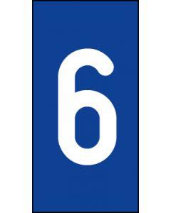Einzelziffer 6 | weiß · blau | Aufkleber · Magnetschild · Aluminium-Schild