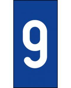 Einzelziffer 9 | weiß · blau | Aufkleber · Magnetschild · Aluminium-Schild