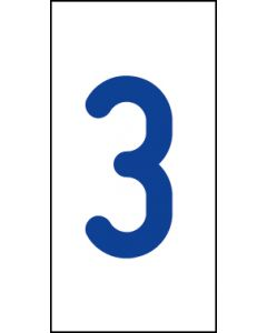 Einzelziffer 3 | blau · weiß | Aufkleber · Magnetschild · Aluminium-Schild